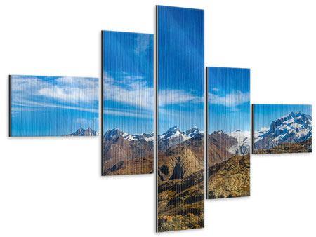 Metallic-Bild 5-teilig modern Schweizer Alpen im Frühling