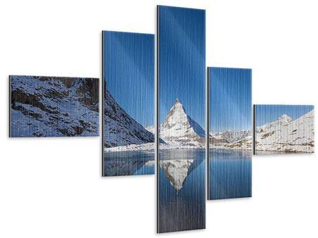 Metallic-Bild 5-teilig modern Der Riffelsee am Matterhorn