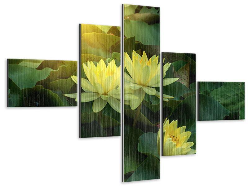 Metallic-Bild 5-teilig modern Wilde Lotus