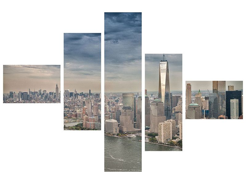 Metallic-Bild 5-teilig modern Skyline Manhattan