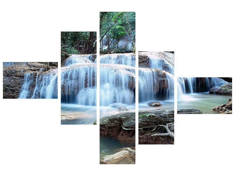 Metallic-Bild 5-teilig modern Ein Wasserfall