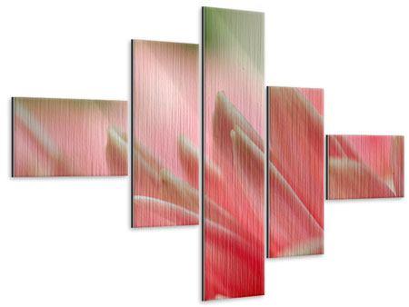 Metallic-Bild 5-teilig modern Close Up einer Blüte