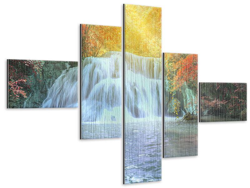 Metallic-Bild 5-teilig modern Wasserfall im Licht