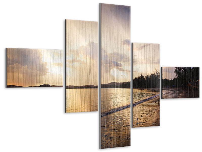 Metallic-Bild 5-teilig modern Das Ufer