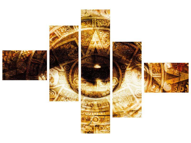 Metallic-Bild 5-teilig modern Fraktales Auge
