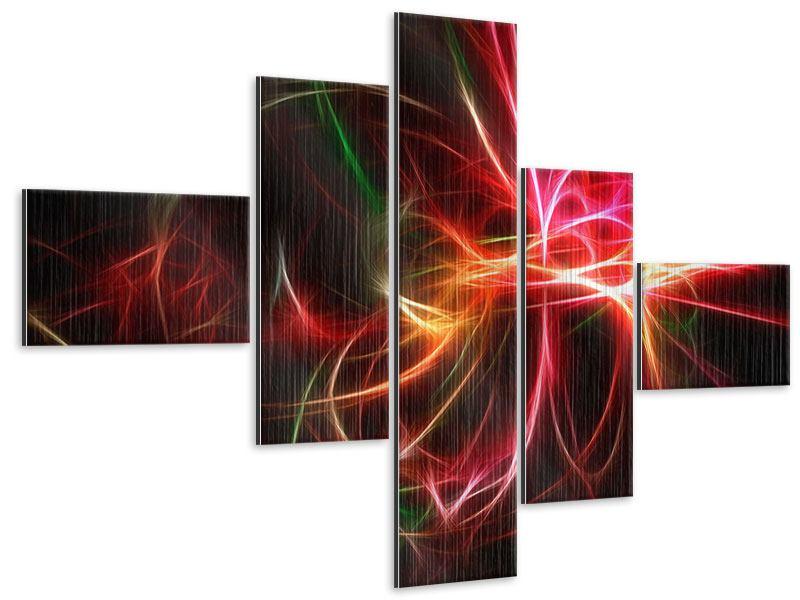Metallic-Bild 5-teilig modern Fraktales Lichtspektakel