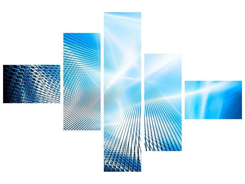 Metallic-Bild 5-teilig modern Laser