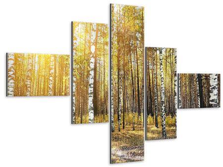Metallic-Bild 5-teilig modern Birkenwald