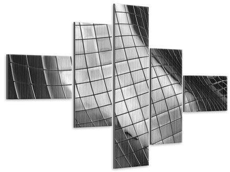 Metallic-Bild 5-teilig modern Abstrakter Stahl