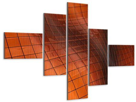 Metallic-Bild 5-teilig modern 3D-Kacheln