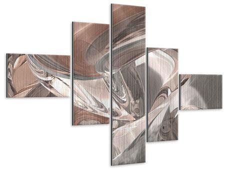 Metallic-Bild 5-teilig modern Abstraktes Glasfliessen