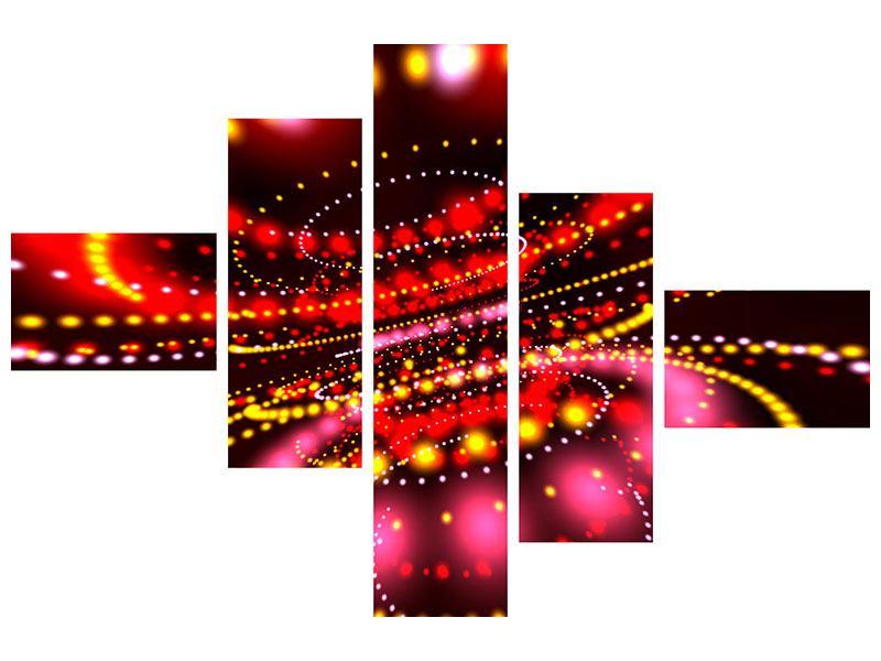 Metallic-Bild 5-teilig modern Abstraktes Lichtspiel