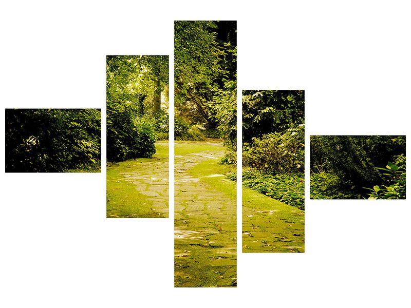 Metallic-Bild 5-teilig modern Der bemooste Weg
