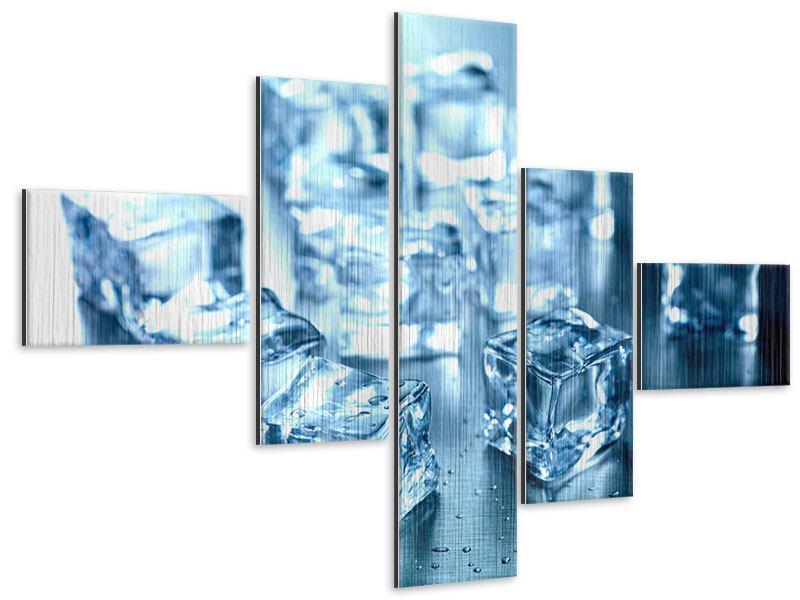 Metallic-Bild 5-teilig modern Viele Eiswürfel