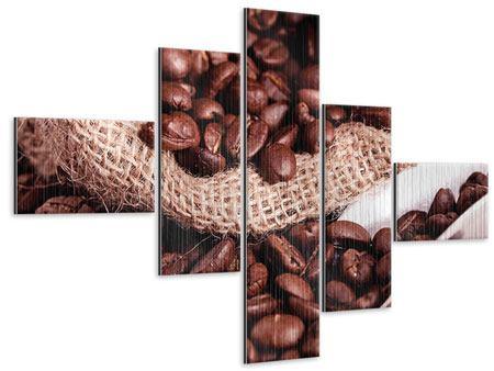 Metallic-Bild 5-teilig modern XXL Kaffeebohnen