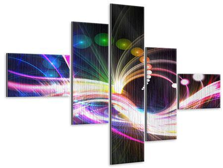 Metallic-Bild 5-teilig modern Abstrakte Lichtreflexe