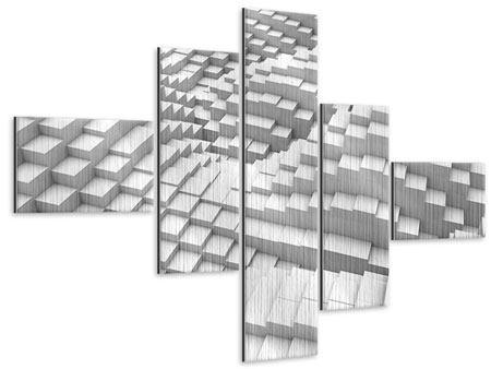 Metallic-Bild 5-teilig modern 3D-Elemente