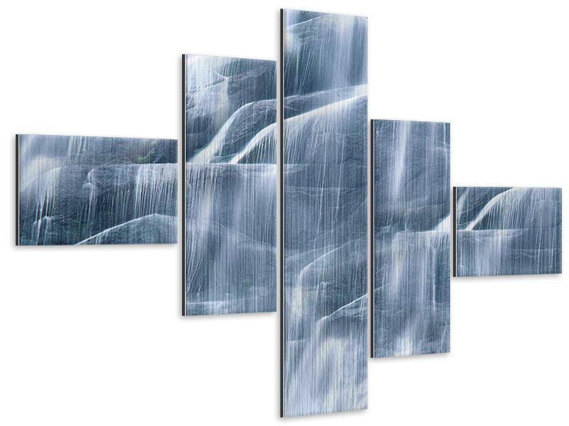 Metallic-Bild 5-teilig modern Grossartiger Wasserfall