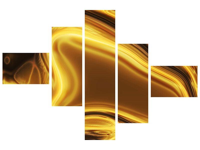 Metallic-Bild 5-teilig modern Abstrakt Flüssiges Gold