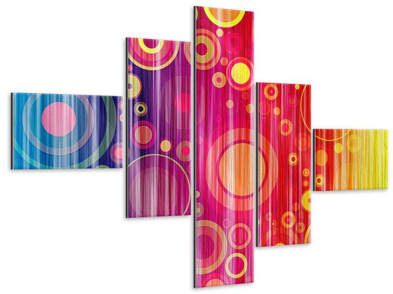 Metallic-Bild 5-teilig modern Grunge-Retrokreise