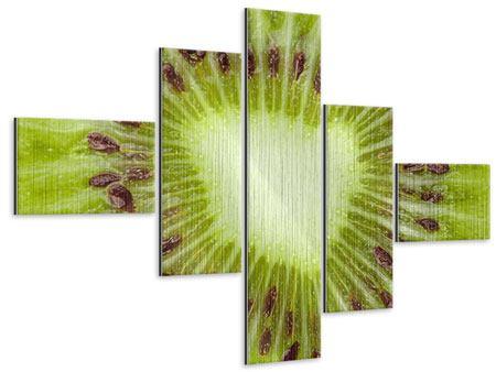 Metallic-Bild 5-teilig modern Close Up Kiwi