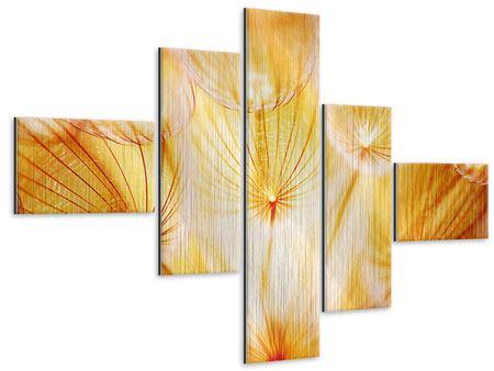 Metallic-Bild 5-teilig modern Close Up Pusteblume im Licht