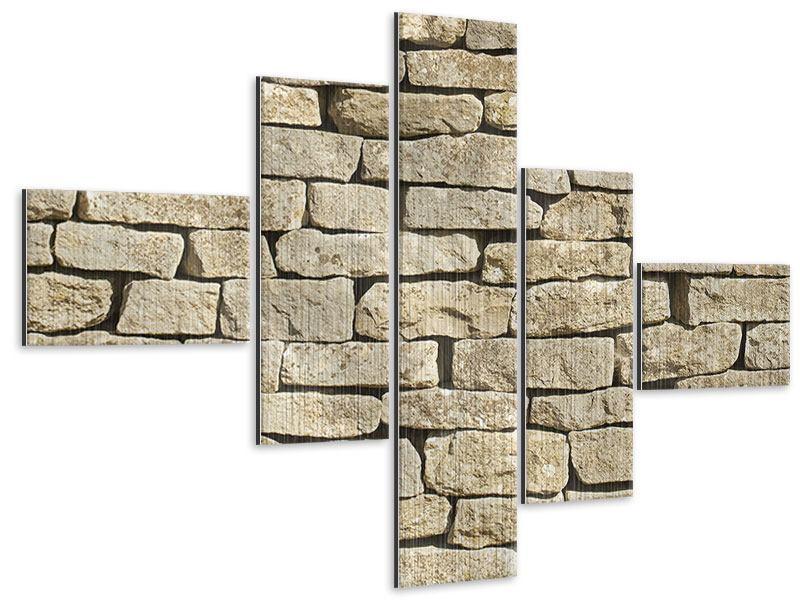 Metallic-Bild 5-teilig modern Alte Mauer