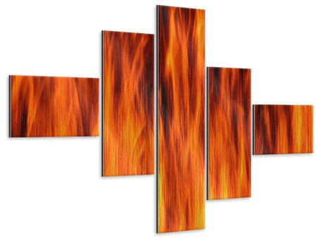 Metallic-Bild 5-teilig modern Feuer Close Up