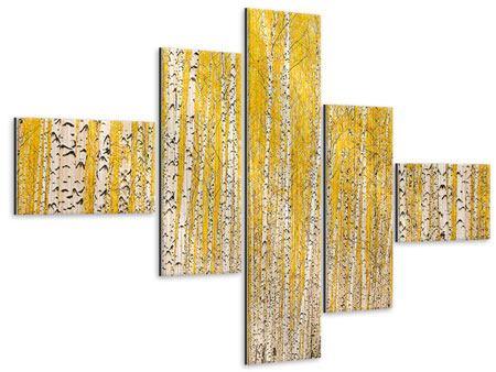 Metallic-Bild 5-teilig modern Der Birkenwald im Herbst