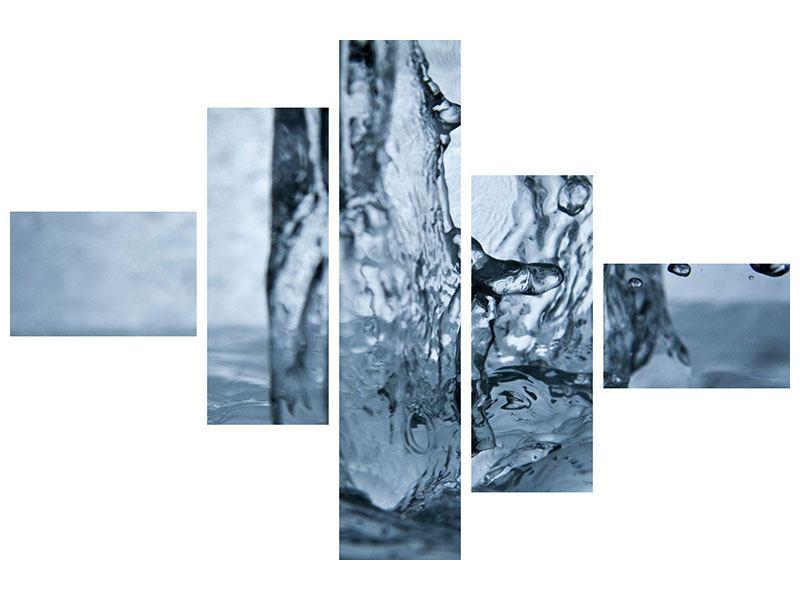 Metallic-Bild 5-teilig modern Wasserdynamik