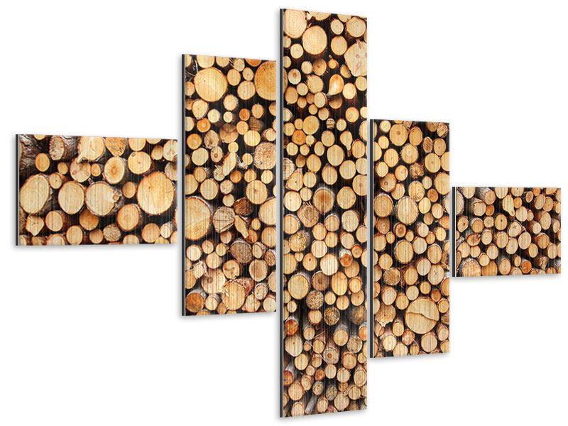 Metallic-Bild 5-teilig modern Holzstämme