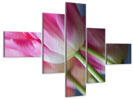 Metallic-Bild 5-teilig modern Makro Tulpen