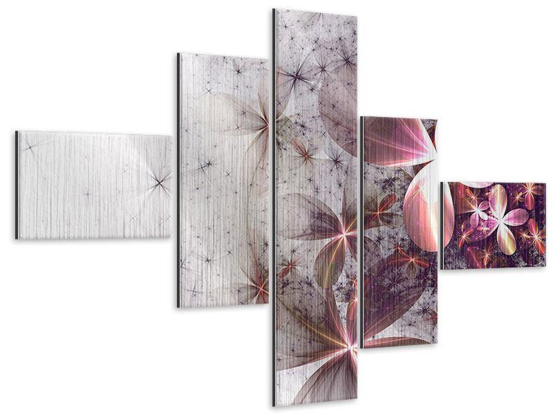 Metallic-Bild 5-teilig modern Abstrakte Blumen