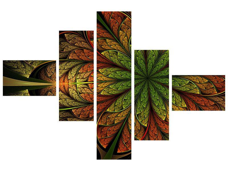 Metallic-Bild 5-teilig modern Abstraktes Blumenmuster