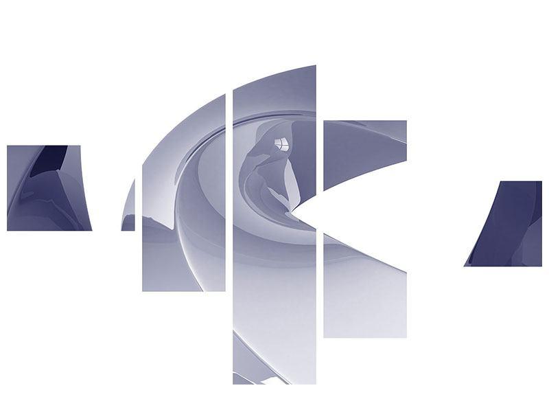 Metallic-Bild 5-teilig modern Abstrakte Schwingungen