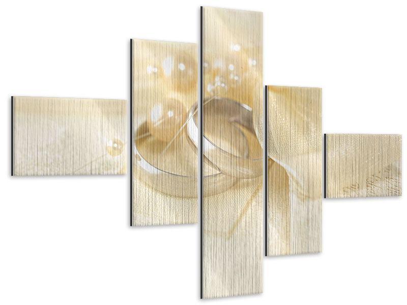 Metallic-Bild 5-teilig modern Trauringe