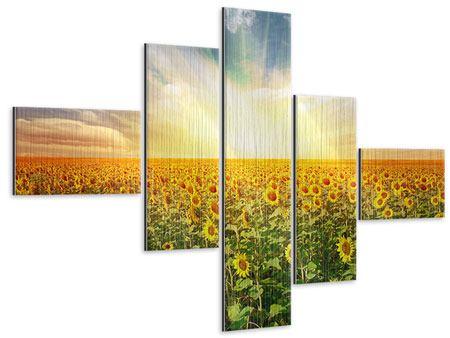 Metallic-Bild 5-teilig modern Ein Feld voller Sonnenblumen