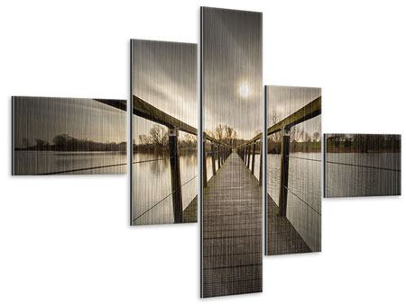 Metallic-Bild 5-teilig modern Die Holzbrücke