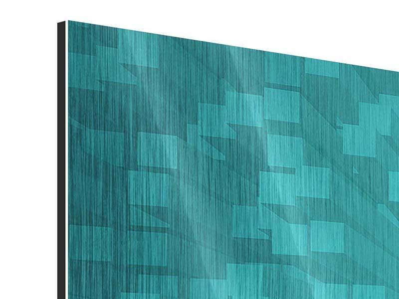 Metallic-Bild 5-teilig modern 3D-Kubusse