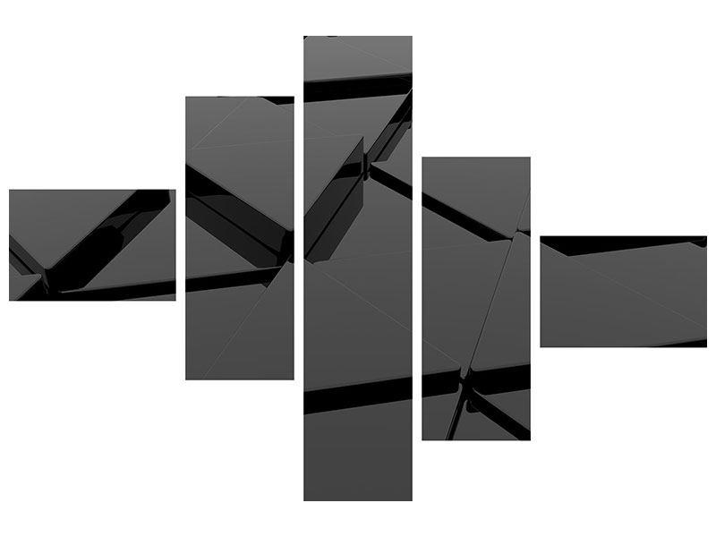 Metallic-Bild 5-teilig modern 3D-Dreiecksflächen
