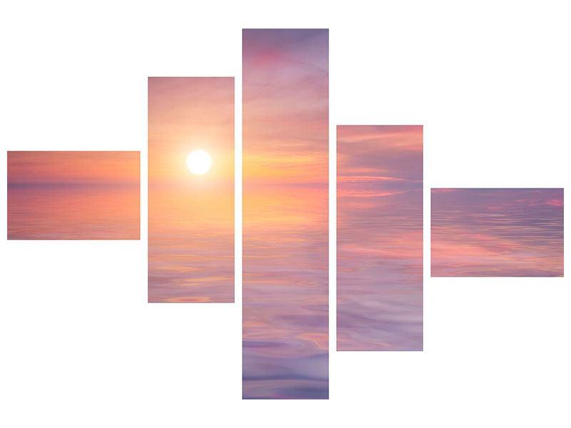 Metallic-Bild 5-teilig modern Sonnenuntergang auf See