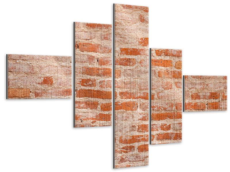 Metallic-Bild 5-teilig modern Mauerwerk