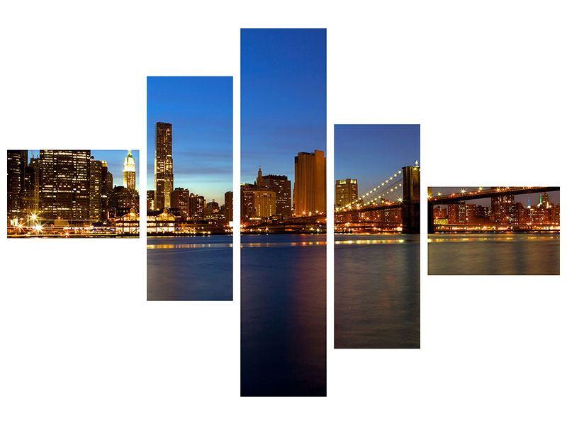 Metallic-Bild 5-teilig modern Skyline Manhattan im Lichtermeer