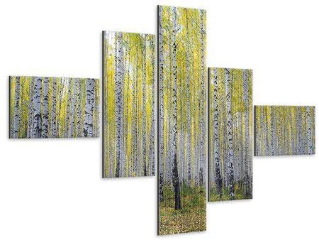 Metallic-Bild 5-teilig modern Herbstlicher Birkenwald