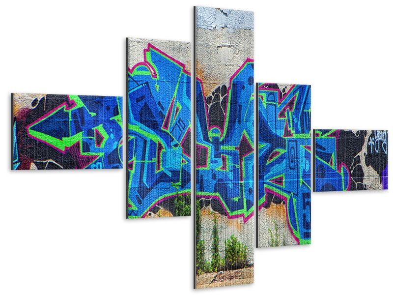 Metallic-Bild 5-teilig modern Graffiti NYC