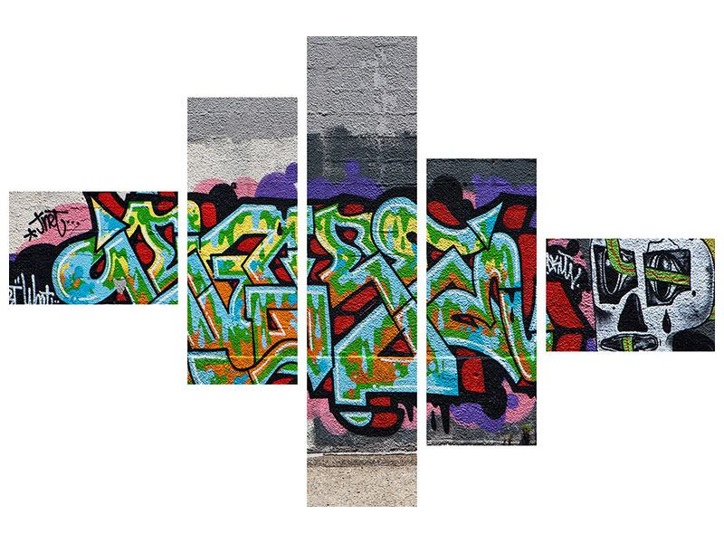 Metallic-Bild 5-teilig modern Graffiti in New York