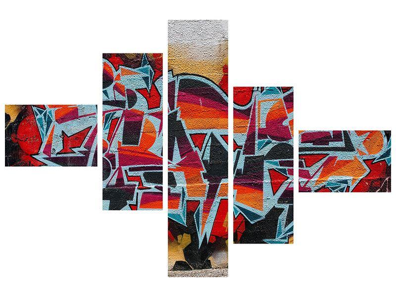 Metallic-Bild 5-teilig modern New York Graffiti