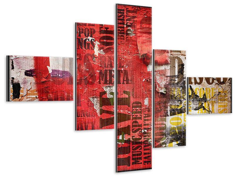 Metallic-Bild 5-teilig modern Musiktext im Grungestil