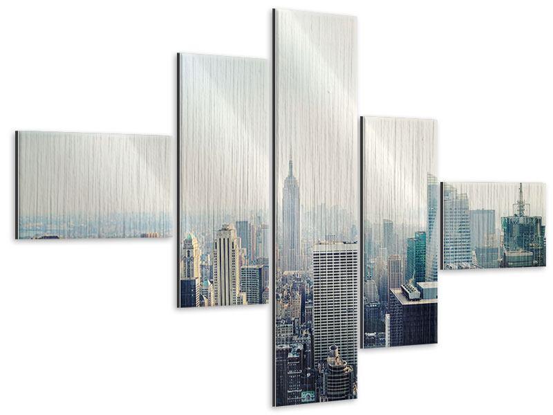 Metallic-Bild 5-teilig modern NYC