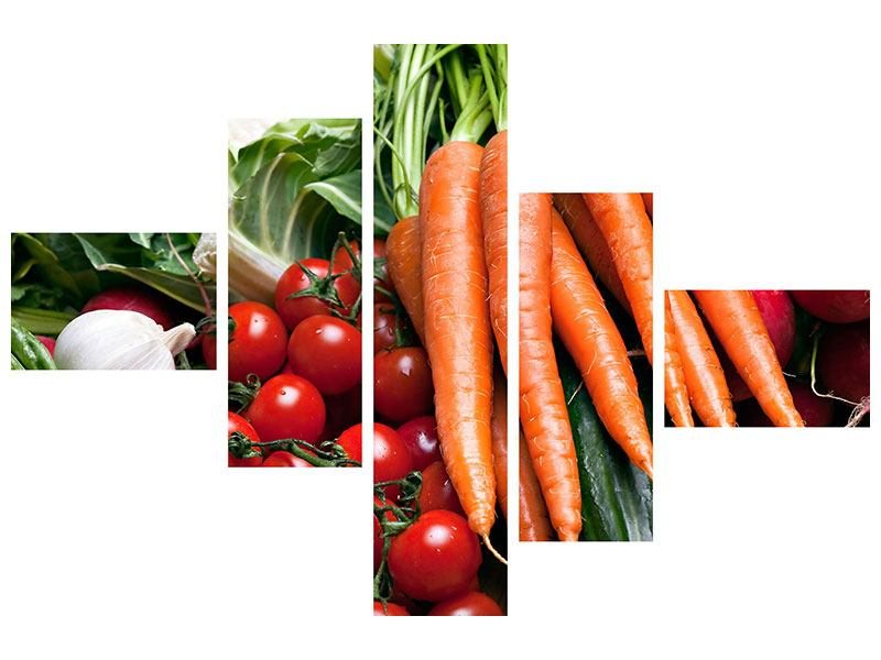 Metallic-Bild 5-teilig modern Gemüse